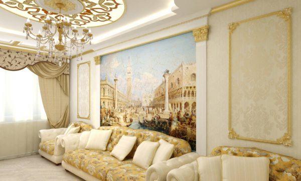Интерьер гостиной в дворцовом стиле с фресками