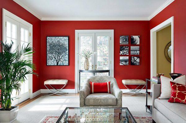Красно-белая гостиная