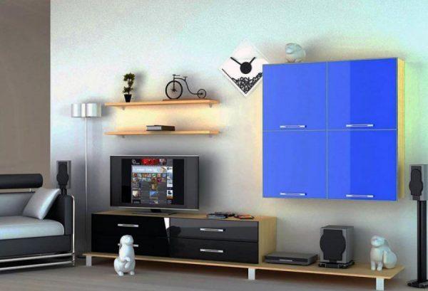 Оформление стенок горок в гостиной в современном стиле