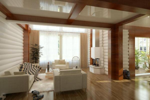 Скандинавский интерьер в деревянном доме
