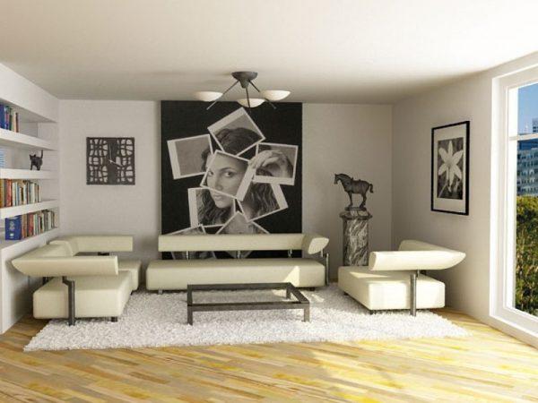 Оформление стен в интерьере гостиной в стиле минимализм