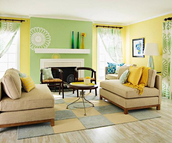 Желто-зеленая гостиная