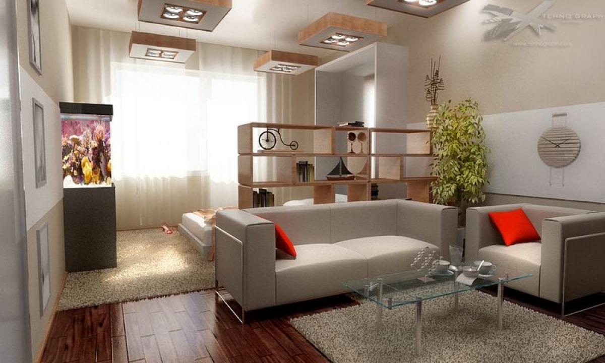 Зонирование комнаты на спальню и гостиную 18 кв.м