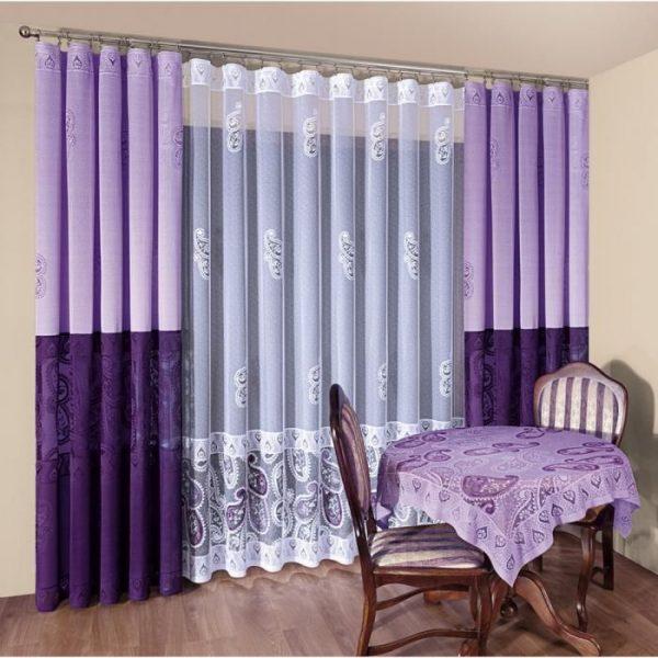 Сиреневые шторы для гостиной