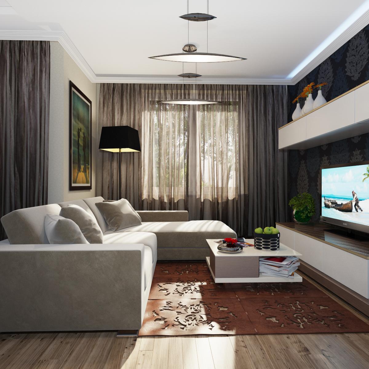 Гостиная дизайн 19 кв метров