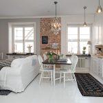 Белая мебель для кухни гостиной