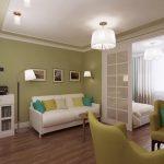 Фисташковый интерьер спальни гостиной