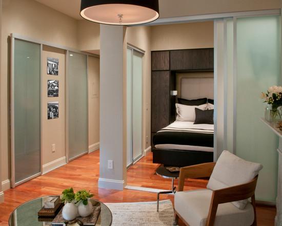 Перегородка из матового стекла в интерьере гостиной спальни