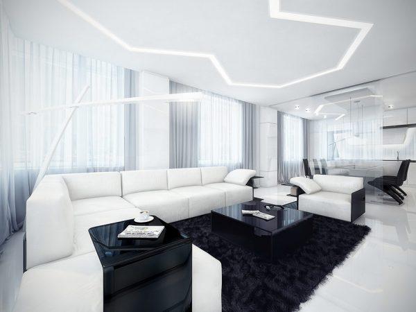 Стильный бело-черный интерьер гостиной