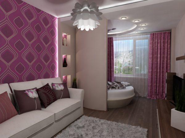 Система освещения в гостиной спальне