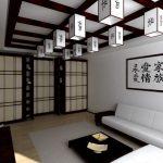Интерьер гостиной с раздвижными перегородками