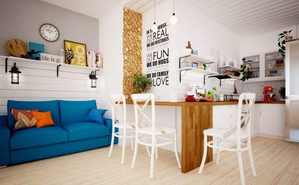 Дизайн маленькой комнаты в скандинавском стиле.