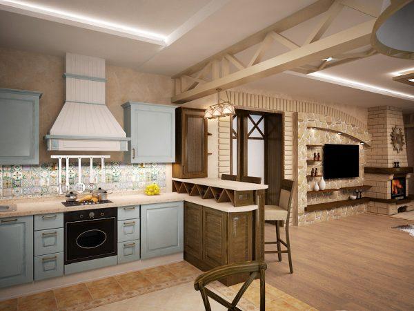 Стиль кантри в оформлении интерьера гостиной кухни