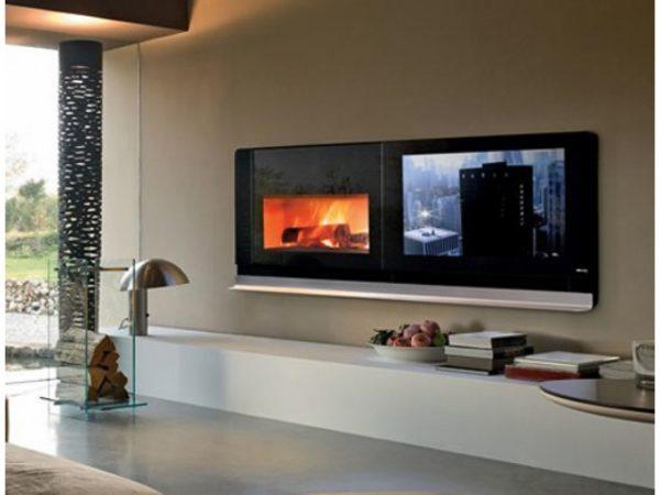Настенный электрокамин с телевизором