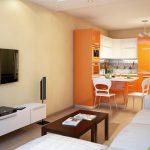 Дизайн гостиной комнаты, разделенной на две зоны