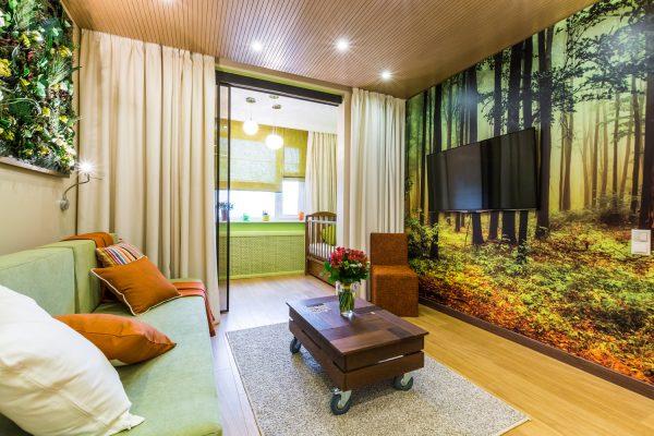 Фотообои на стене в гостиной зоне