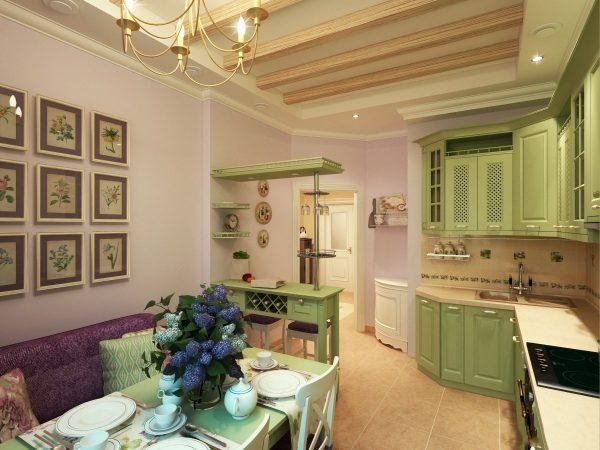Прованский стиль интерьера кухни гостиной