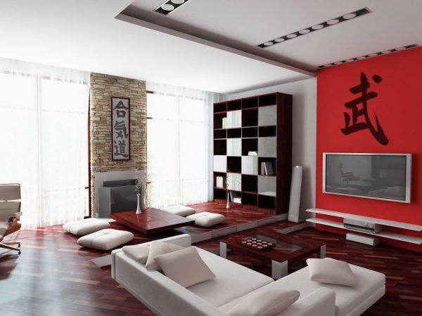 Яркие цвета в интерьер в японском стиле