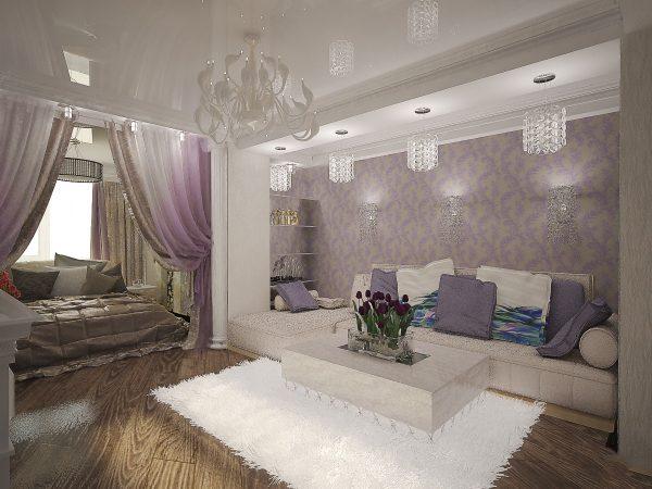 Серо-сиреневый интерьер гостиной спальни