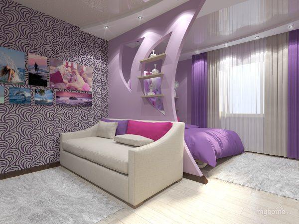 Интерьер гостиной совмещенной с спальней.