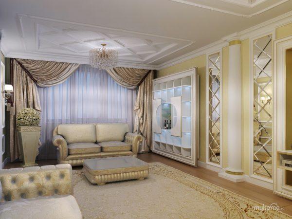 Декор классической гостиной зеркалами