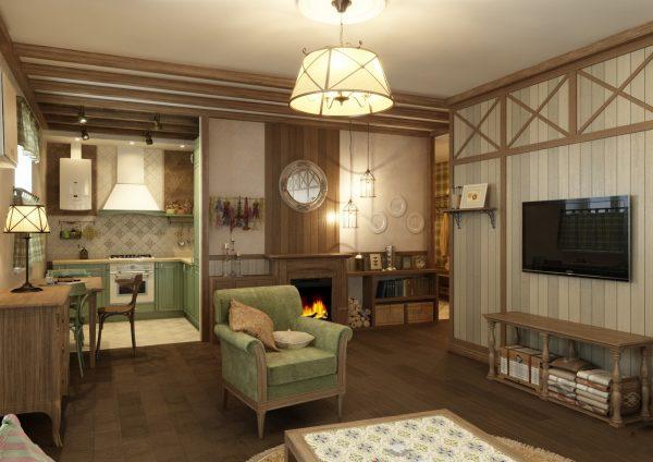 Уютный интерьер гостиной кухни в стиле кантри