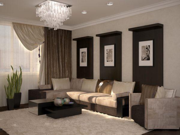 Коричневая гостиная в современном стиле