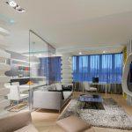Перегородка из стекла в интерьере кухни гостиной в стиле хай тек