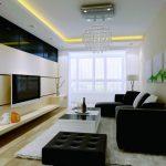 Черная кожаная мебель в современной гостиной