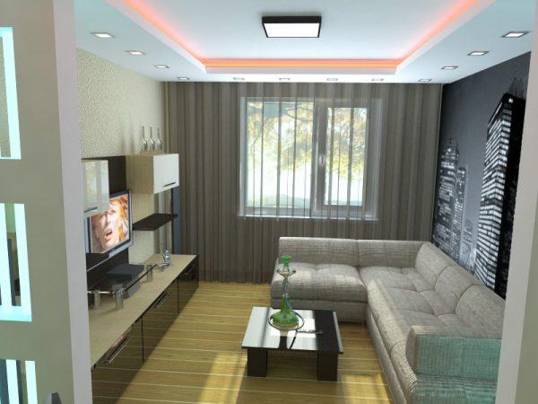 Яркие акценты в оформлении гостиной в стиле минимализм