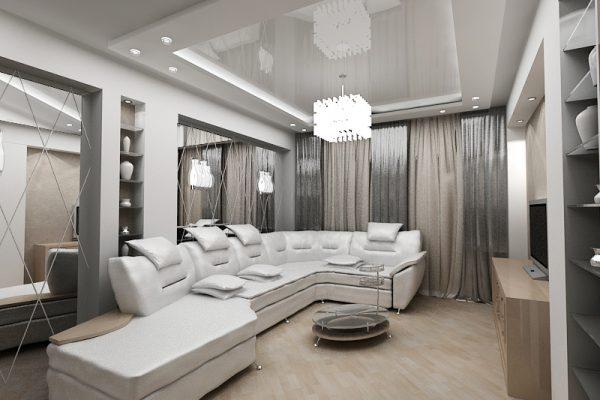 Интерьер гостиной в белых тонах с серебристыми шторами и зеркалами