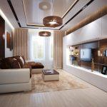 Современная гостиная в коричневых тонах