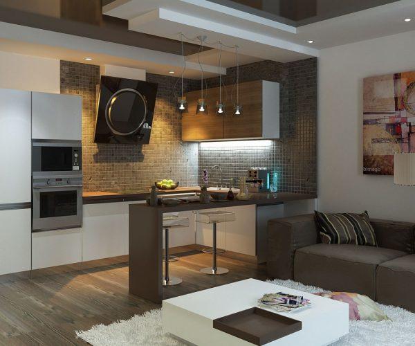 Функциональная кухня гостиная