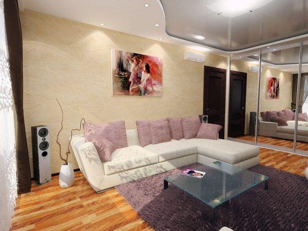 Зеркала и точечное освещение зрительно расширяют пространство маленькой комнаты