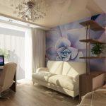 Фотообои над диваном в гостиной