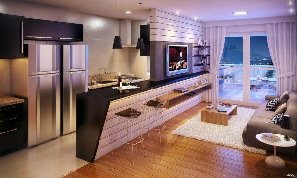 Барная стойка в гостиной кухне