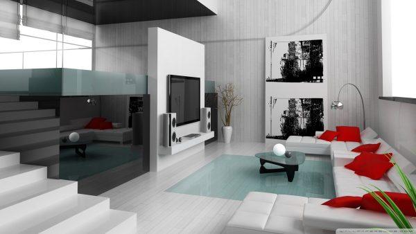 Современный интерьер светлой гостиной с яркими акцентами