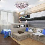 Интерьер маленькой спальни гостиной в современном стиле