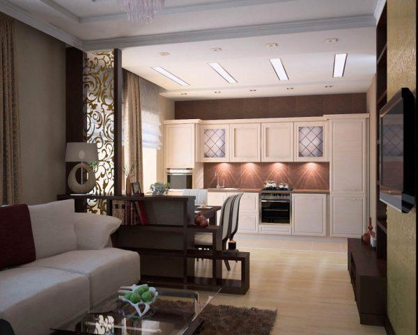 Насыщенный коричневый цвет в дизайне кухни гостиной