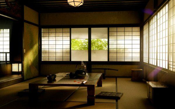 Большие окна ы интерьере японской гостиной