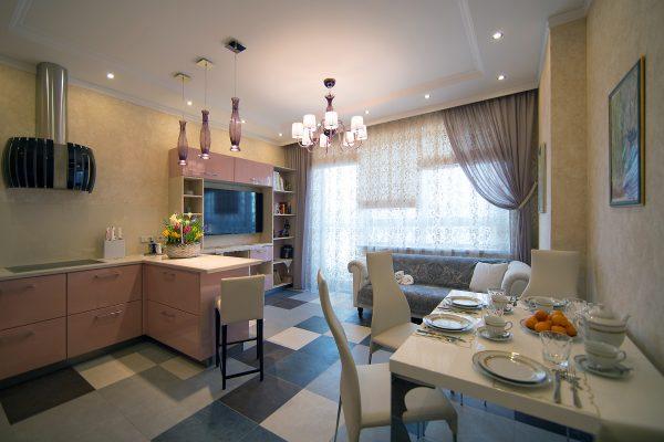 Кухня гостиная с обеденной зоной
