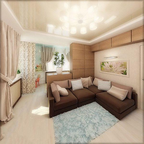 Модульная мебель для зонирования гостиной детской