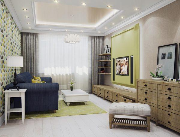 Оформление стен в современной гостиной