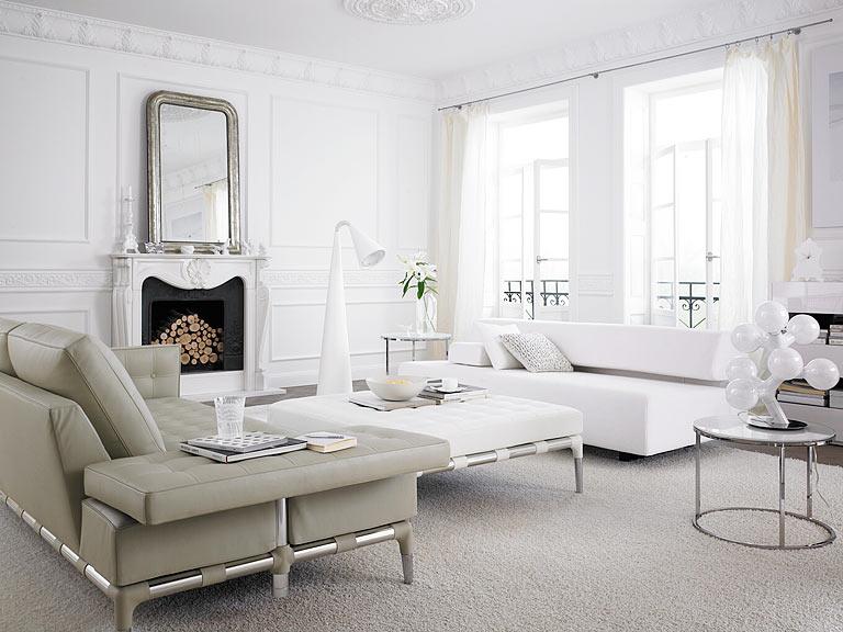 Wohnzimmer beige silber