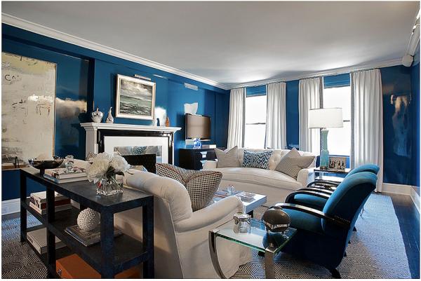Дизайн синей гостиной
