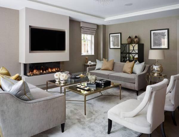 Камин и телевизор в гостиной - варианты размещения