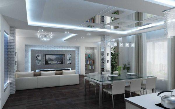 Кухня гостиная в стиле хай тек белогоцвета