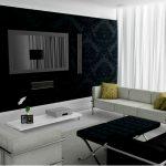 Черно-белый интерьер современной гостиной