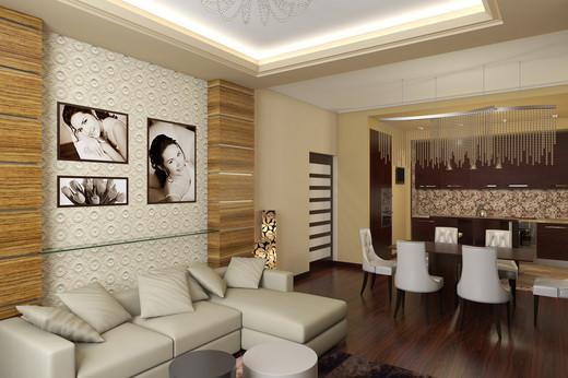 дизайн прямоугольной кухни гостинной