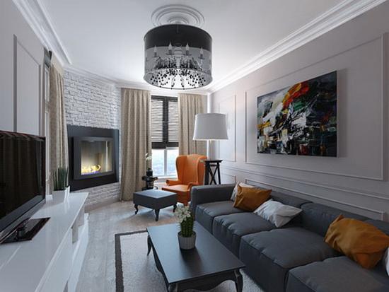 Угловой камин в интерьере узкой гостиной